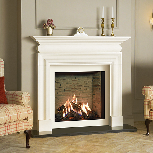 Reflex 75T Edge with Ledgestone-effect lining - Cavendish Bolection limestone mantel - matching slip set
