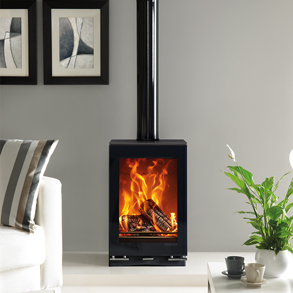 Vision midi T woodburning with glass top plate and gloss black flue