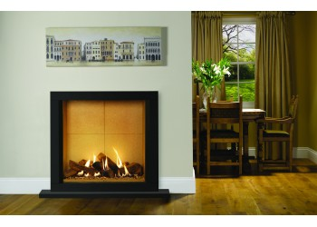 Azure Gas Fire with Slender Fireplace (Satin Black)