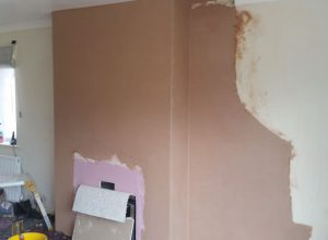 False chimney breast constructed and plastered