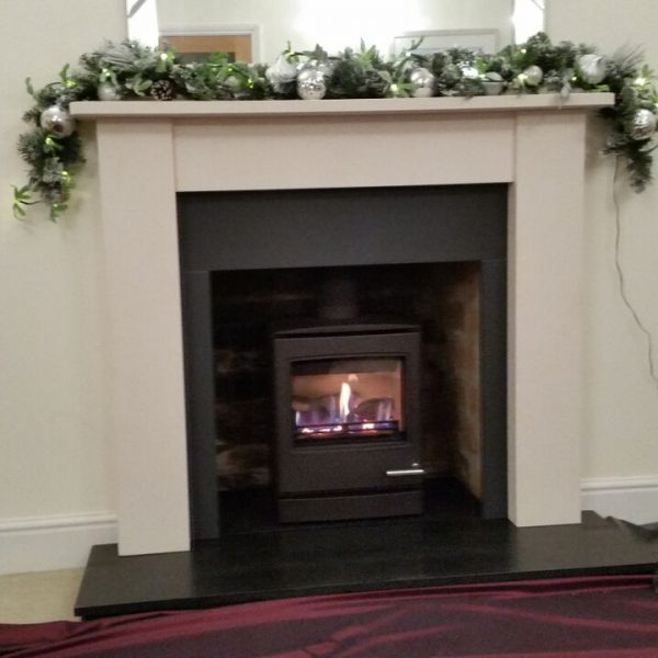 Melrose 48 black slate hearth and slips and gas stove