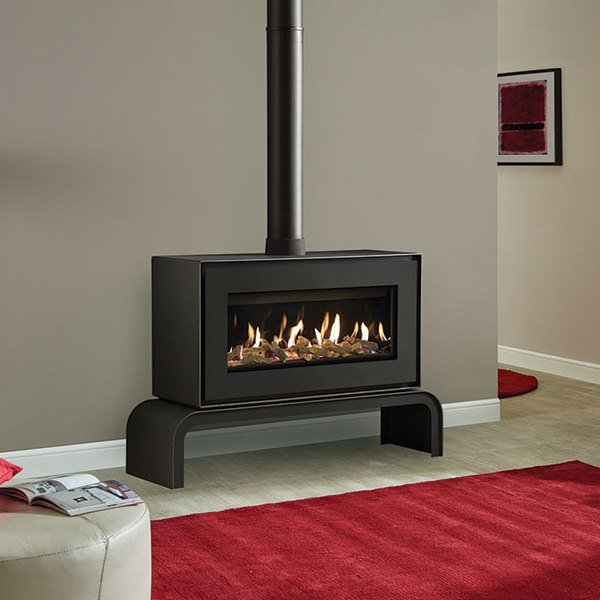 Gazco Studio 1 Gas Freestanding with Black front and matching bench log effect and black glass lining stove