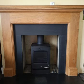Fireplace with Wooden Mantel Granite and Multifuel Stove